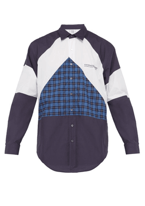 Vetements - Mustermann Panelled Cotton Poplin Shirt - Mens - Purple Multi
