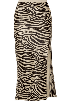 Anine Bing - Dolly Zebra-print Silk-satin Midi Skirt - Black