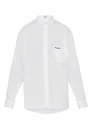 Vetements - Logo Embroidered Cotton Poplin Shirt - Mens - White