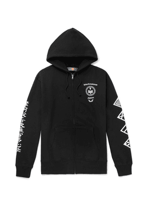Blackmeans - Printed Loopback Cotton-jersey Zip-up Hoodie - Black