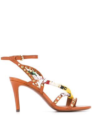 Ash scarf detailed sandals - Brown