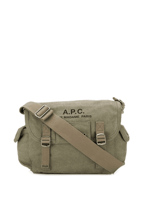 A.P.C. large logo messenger bag - Green