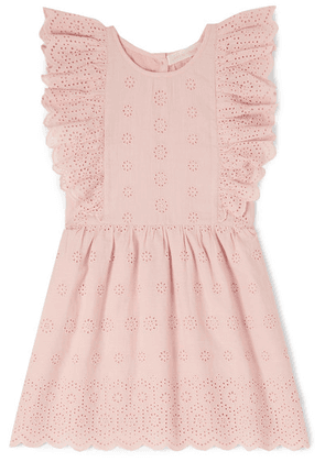 LoveShackFancy Kids - Sylvie Ruffled Broderie Anglaise Cotton Dress - Pink