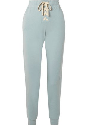 Eberjey - Mason Lace-up Stretch-pima Cotton And Modal-blend Track Pants - Sky blue