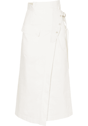 Golden Goose - Linette Suede-trimmed Cotton-twill Wrap Skirt - White
