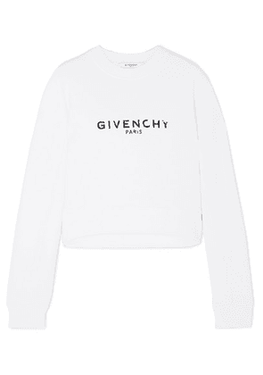 Givenchy - Cropped Printed Cotton-jersey Sweatshirt - White
