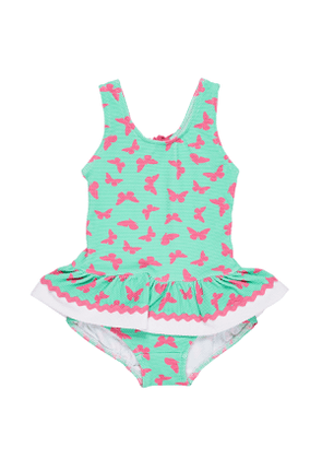 Butterfly-Print Waffle Ruffle One-Piece Swimsuit, Size 6-24 Months