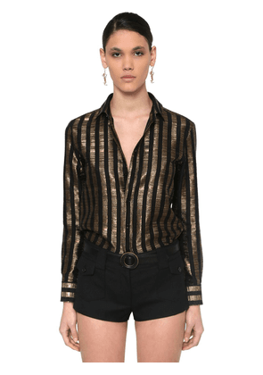 Striped Lamé Chiffon Jacquard Shirt
