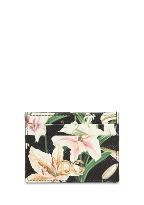 Lily Print Leather Card Holder