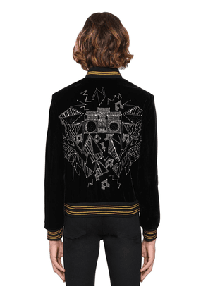 Teddy Embellished Velvet Bomber Jacket