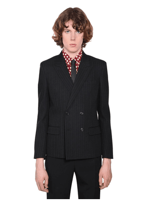 Double Breasted Striped Wool Jacket