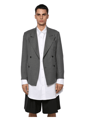 Unlined Double Breasted Wool Jacket