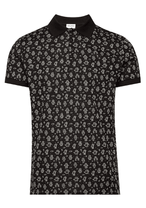 Saint Laurent Printed Cotton Polo T-Shirt