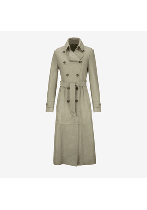 Calf Hair Trench Coat Green 38
