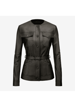Belted Nappa Jacket Black 36