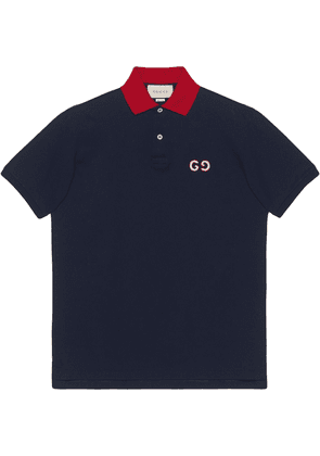 Gucci Polo with GG embroidery - Blue