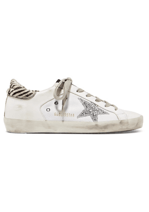 Golden Goose - Superstar Glittered Distressed Leather And Canvas Sneakers - White