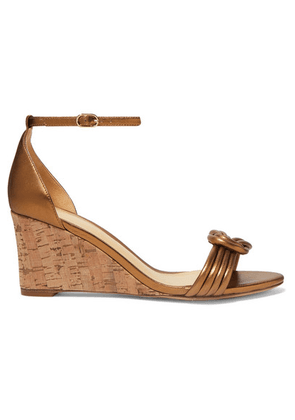 Alexandre Birman - Vicky Knotted Leather Wedge Sandals - Bronze