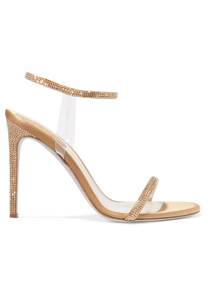 René Caovilla - Crystal-embellished Satin And Pvc Sandals - Gold