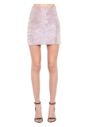 Silk Voile Lamé Mini Skirt