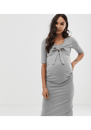 a3ee4e238fadb Bluebelle Maternity bodycon tie front dress with 3/4 sleeve in grey