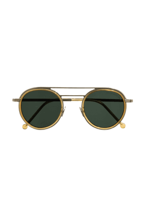 Cutler and Gross 1270 GOLD / MIELE SUNGLASSES WITH GREEN TINT