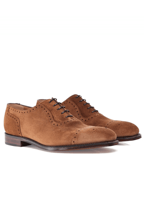 Loake Suede Semi-Brogue Strand Oxford Shoes Colour: Brown