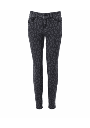 DL1961 Florence Leopard Print Cropped Skinny Jeans Colour: Grey