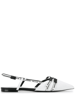 Ash pointed toe flat mules - White