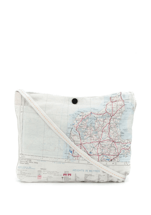 Raeburn map print shoulder bag - White