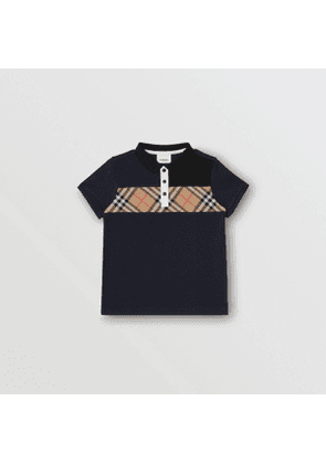 Burberry Childrens Vintage Check Panel Cotton Polo Shirt, Size: 10Y, Blue