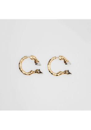 Burberry Gold and Palladium-plated Hoof Open-hoop Earrings, Yellow