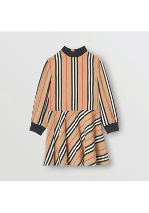 Burberry Childrens Long-sleeve Icon Stripe Turtleneck Dress, Size: 10Y, Beige