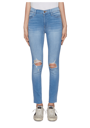 'Le High Skinny' cropped ripped knee jeans