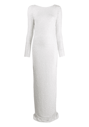 Balmain pearl and sequin dress - White
