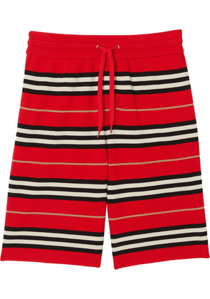 Burberry drawcord striped shorts - Red