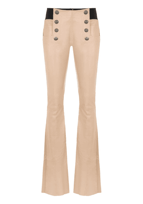 Andrea Bogosian leather flared trousers - Neutrals