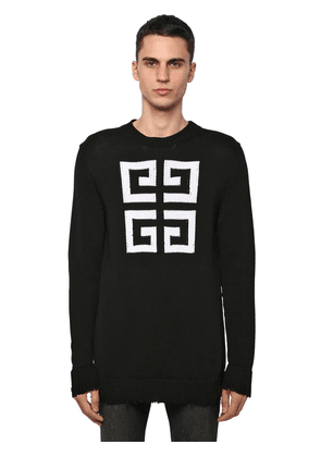 4g Intarsia Logo Cotton Knit Sweater