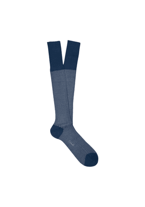 Blue and White Cotton Long Socks