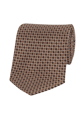 Brown and Yellow Silk Floral Pattern Tie