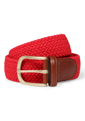 Red Cotton and Leather Woven Belt