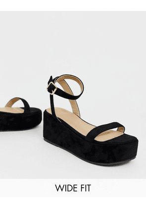691681cb8535 RAID Wide Fit Trina black two part flatform sandals