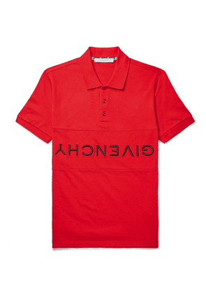 Givenchy - Slim-fit Logo-embroidered Cotton-piqué Polo Shirt - Red