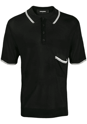 Dsquared2 contrast stripe polo shirt - Black