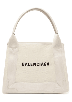 Balenciaga - Cabas Xs Aj Leather-trimmed Printed Canvas Tote - Beige