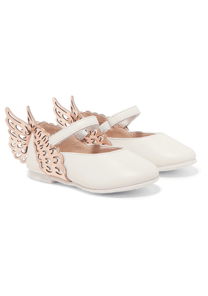 Sophia Webster Kids - Size 21-26 Evangeline Metallic And Textured-leather Ballet Flats - White