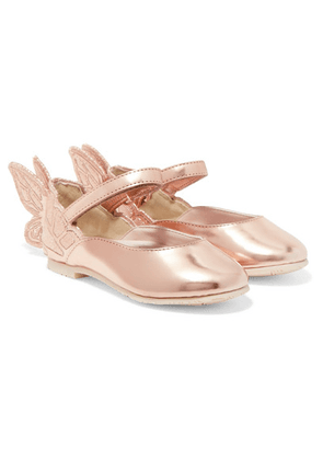 Sophia Webster Kids - Size 21 - 26 Chiara Embroidered Metallic Leather Ballet Flats