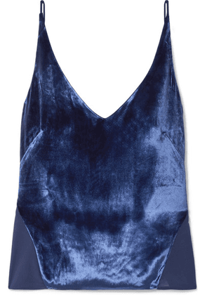 J Brand - Lucy Velvet And Silk-georgette Camisole - Blue
