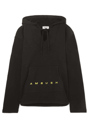 AMBUSH® - Baja Oversized Printed Cotton-terry Hoodie - Black