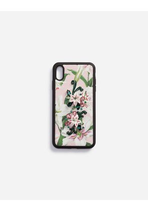 5fcc5b3d55 Dolce & Gabbana Collection - IPHONE XS MAX COVER IN LILY-PRINT DAUPHINE  CALFSKIN WITH